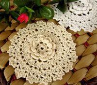 Wholesale 15 off Stereo hook flower handmade crochet table mats vintage cotton coasters cm