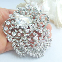 Wholesale Hot quot Bridal Leaf Flower Brooch pin w Clear Rhinestone Crystals EE04886C1