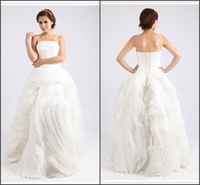 Real Photos Strapless Organza Free Shipping New Goreous Real Model Strapless A-line Ruched Organza Wedding Dress