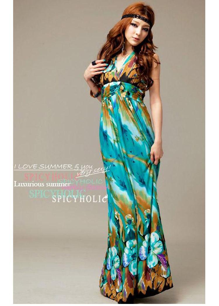 Sexy V-neck Beach Dress Women Printed Bohemian Long Maxi Dress ...