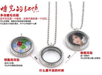 Wholesale glass locket for floating charms in stainless steel accent clear crystal birthday valentine s gift