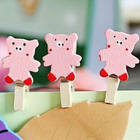 Wholesale Wooden cartoon novel pig Paper bookmark photo memo etc CLIP Clips binding Charm funny fashion clips