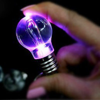 Wholesale Creative novel mixed color LED Bulb style KEYCHAIN Mobile phone chain Charm funny Led keychains