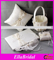 Wholesale New Arrival Cheap Ivory Satin Ring Pillow Wedding Favor Guest Books amp Pen Container Sets