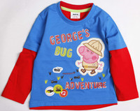Wholesale A3213 Blue Nova kids wear ready made fresh stock spring winter children boys t shirts hot Peppa Pig appliqued cotton sweater tops