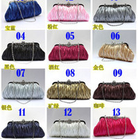 Wholesale Lady Luxury Evening Bag Folded Satin Handbag Fashion Wedding Bags Glisten Clutch Bags
