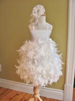 Wholesale New Arrival Kids Pageant Dresses Feather Square Little Girls Cupcake Sash Glitz Party Dresses GD22