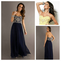 Wholesale Masterfully Sweetheart Embroidery Dark Navy Blue Long Cheap Chiffon Prom Dresses