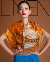 Long silk head scarves - Fashion Woman s Imitate Silk Once upon a time in France Big Squares Chiffon Scarf shawl X140cm