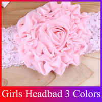 Wholesale Girls Chiffon Flower Headbands Baby Hair Band Elastic Lace Children Head Ornaments Colors HB23