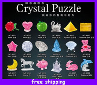 Wholesale 3d Three dimensional Crystal Puzzle Intelligence Love Bear Pyramid Diamond Mouse Wate Drop Jigsaw