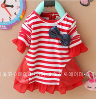 Wholesale girls Tee Shirt baby clothes Korean girl stripe bowknot T shirt1 year Kids spring wear apparel