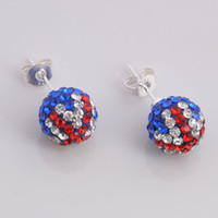Wholesale pairs Dazzling Union Jack Crystal Disco Beads Studs Fashion Shamballa Earrings NEW