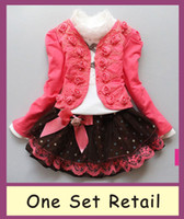 Wholesale 1 set retail girl clothing set knitted suit lace shirt bow tutu skirt children dress