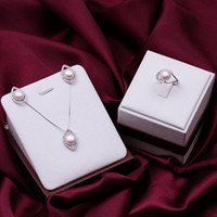 Wholesale Gorgeous Sterling Silver fashion jewelry Elegant retro pearl Girl Earring RING Necklace set