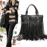 bead fringe - 2015 hot women bags new fashion Women Punk Tassel Fringe handbag Shoulder Bag Black brown