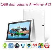 7inch A13 double appareil photo tablette pc Q88 Andriod 4.1 capacitif écran 512M 4GB Support modem 3G externe