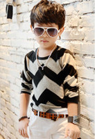 Wholesale Children Clothing Boys Knitted Shirts Long Sleeve T Shirt Kids Wear Fashion Wave Pattern Casual Tops