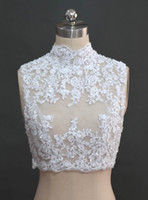 Wholesale 2015 Sexy See Through Lace Appliques Beaded High Collar Bridal Wraps Jackets Bridal Accessories