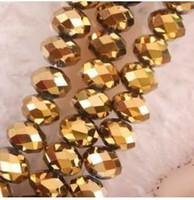 Cube abacus bead - x6mm Gold Crystal Faceted Abacus Loose Beads