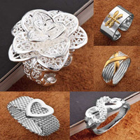 Wholesale Fashion jewelry Silver Multi Desin Charms Ladies Finger Rings Size amp amp Can be mixed