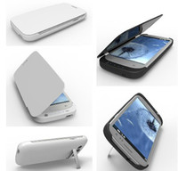 Wholesale 3200mAh Flip Leather Power Bank Backup emergency External Battery Charger Case For galaxy S3 i9300