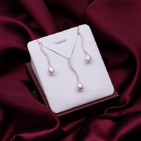 Wholesale Beautiful Sterling Silver fashion jewelry Austria crystal Pretty pearl Earring Necklace set S12