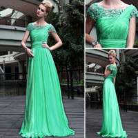 Reference Images Scoop Chiffon Elegant Cap Sleeves Green Chiffon Prom Dress Crystals Lace Beaded Ruffles Evening Gown DH4290
