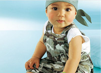 Wholesale infant clothes baby wear camouflage straps pieces suit children Tank Tops summer wear apparel
