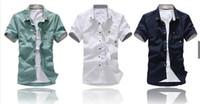 Dress Shirts casual shirts for men - new hot cotton casual shirts for men short sleeve solid men shirt M L XL XXL