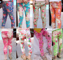 Wholesale Fashion Stretch Jeans Kids Wear Denim Trouser Girls Flower Pants Skinny Jeans Children Long Trousers