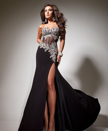 Wholesale 2013 New Black Chiffon Party Dresses Beaded Side Slit Luxurious Crystal Evening Dresses