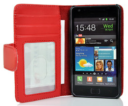 Wholesale For Galaxy S2 Wallet Leather Case Cover With Photo Frame Credit Card Slots Stand For Samsung SII i9100