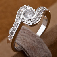 Wholesale Fancy Gorgeous Brand New Silver Clear Crystal Charms Ladies Rings Size amp Hot