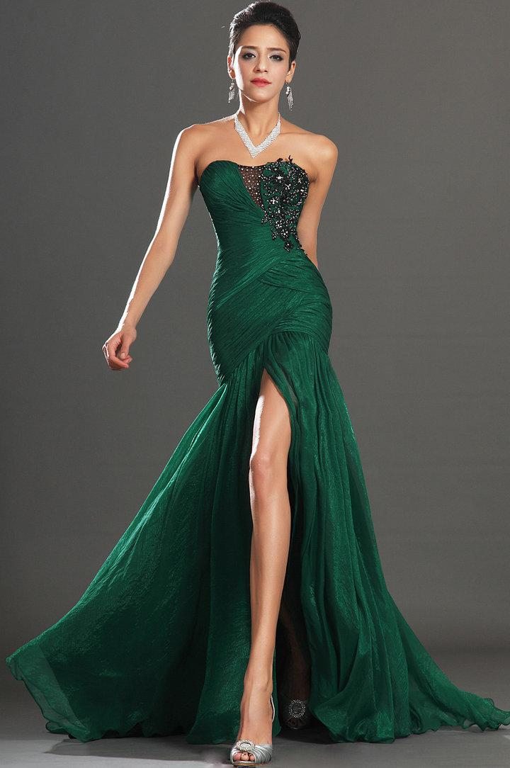 Annie's Yule Ball Gowns Spectacular-dark-green-chiffon-sweetheart
