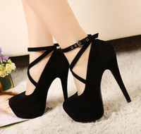 Wholesale 2013 New Red Black Cross Strappy Pumps Sexy Wedding Club Party Platform High Stiletto Heels Shoes
