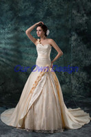 Wholesale Champagne A Line Wedding Dresses One Shoulder Lace Up Back Hand Made Flower Embroidered Ruffles