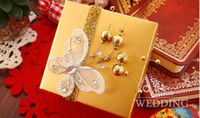 Cheap 100Pcs Lot Gold Color Candy Box With Butterfly Favor Gift Candy Boxes Party Gift 2013 Style