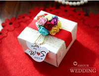 Favor Boxes Pink Paper FreeShipping White Square Candy Box with Colorfully Flowers Desgin Favor Gift Candy Boxes Party Gift 100Pcs Lot
