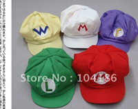 Boy Spring / Autumn Long 5Colors Mario Forever Bro Anime Mario Hat Adult Flexible Fits Cap Cosplay Party Souvenir Mario Cap