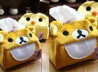 Wholesale Plush Cover Rilakkuma Bear Yellow Chicken Tissue Pumping Box Case Holder Napkin Box Case Pouch