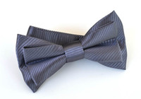 Wholesale Dark Gray Mens Neck Bowtie Bow Tie Pre tied Adjustable Gentleman Silk Solid Weave Bow Tie