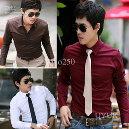 Wholesale NEW Fashion Men s HOT Long Sleeve Slim Shirt Purple Black White Wine Red Coffee