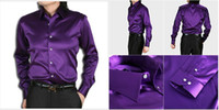 21 colors  Silk Polo 21 Colors 6 Sizes(S M L XL XXL XXXL) Elastic Silk like Satin Men Wedding Prom Groom Shirts Wear Bridegroom Shirt G655
