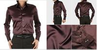 Casual Men Denim Hot Sale EUR-USA Style Elastic Silk like Satin Bridegroom Shirt Men Wedding Prom Groom Shirts 21 Colors 6 Sizes(S M L XL XXL XXXL)G678