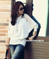 Wholesale Dolman New arrival Lace Loose Long Sleeve T Shirt Blouse Women s Batwing Top for Women hot selling