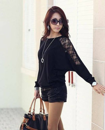 Wholesale NEW fashion Womens Loose Batwing Top Dolman Long bat Sleeve Lace T Shirt Blouse Black White dropship