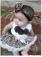 Wholesale Baby sets leopard lace Brown girls tutu skirt sets sleeveless t shirt skirt Y M7