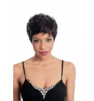 fashion hair short wig - Freeshipping Classy Black Short Straight Hair Lady s Fashion Synthetic wigs wig