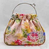 Wholesale Designer Evening Handbag Women s Silk Fabric Metal Clasp Small Bags Purse mix color Free